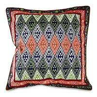 Cotton cushion cover, 'Geometric Design in Jungle' (16 inch) - African Geometric Block Print Cushion Cover (16 inch)