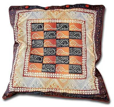 Cotton cushion cover, 'Pangolin in Warm Earth' (21 inch) - 21 Inch Cotton Cushion Cover with Pangolin Motif