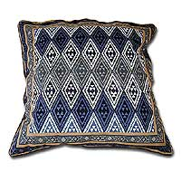 Cotton cushion cover, 'Geometric Design in Blue Steel' (16 inch) - African Geometric Block Print Cushion Cover (16 inch)
