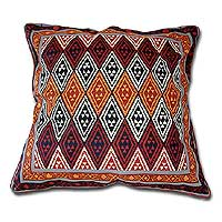 Cotton cushion cover, 'Geometric Design in Warm Earth' (16 inch) - African Geometric Block Print Cushion Cover (16 inch)