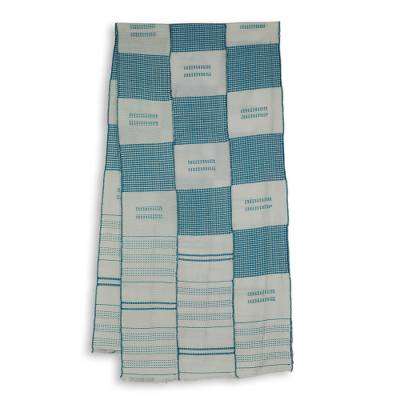 Cotton blend kente scarf, 'My Heart's Desire' (3 strips) - Triple Strips Handwoven Blue and White African Kente Scarf