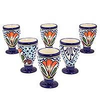 Ceramic cordial glasses, 'Radiant Flowers' (set of 6) - Talavera-Inspired 2 oz Ceramic Cordial Glasses (Set of Six)