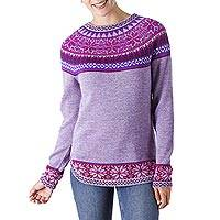 100% alpaca sweater, 'Soft Lavender' - Soft Lavender Flowers 100% Alpaca Pullover Sweater from Peru