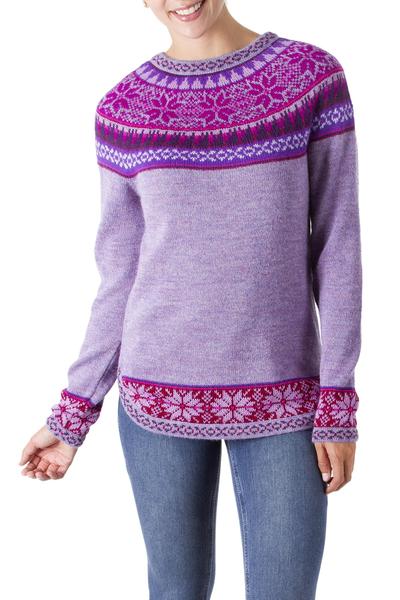 100% alpaca sweater, 'Soft Lavender' - Soft Lavender Flowers 100% Alpaca Pullover Sweater from Peru