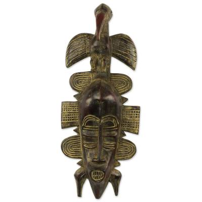 African wood mask, 'Aerial Glory' - Artisan Crafted Ghanaian Wood Wall Mask with Bird Motif