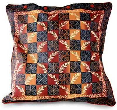 Cotton Cushion Cover Leaf Design In Warm Earth 16 Inch