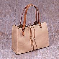 Leather handbag, 'Cream Chocolate' - Ivory Leather Shoulder Bag