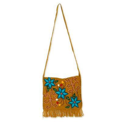 Wool shoulder bag, 'Bluebells' - Embroidered Wool Shoulder Bag from Peru