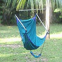 Parachute hammock chair, 'Nusa Dua Teal' - Teal Parachute Hammock Swing Portable Hanging Chair