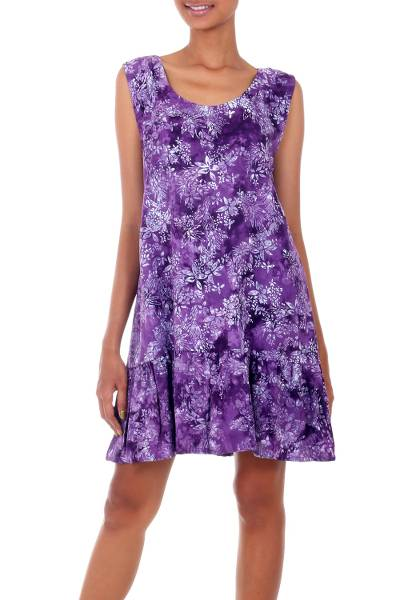 Rayon batik sundress, 'Purple Lily' - Short Rayon Sundress with Purple Floral Batik Pattern