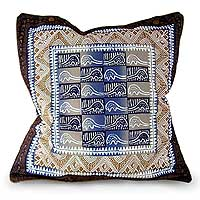 Cotton cushion cover, 'Pangolin in Blue Steel' (16 inch) - Pangolin Motif Cushion Cover from Zimbabwe