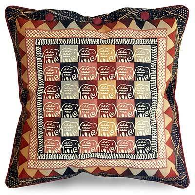 Cotton cushion cover, 'Elephants in Warm Earth' (21 inch) - Cotton Cushion Cover with Elephant Design (21 inch)