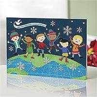 UNICEF holiday cards, 'On Top of the World' (set of 16) - UNICEF Holiday Cards withJoyful Kids (set of 16)