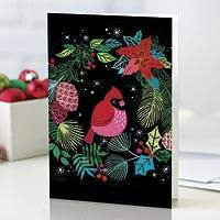 UNICEF holiday cards, 'The Cardinal's Welcome' (set of 12) - UNICEF Cardinal and Wreath Holiday Cards (set of 12)