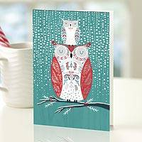 UNICEF holiday cards, 'Two of a Kind' (set of 12) - UNICEF Holiday Cards with Owl Theme (set of 12)