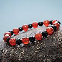 Agate stretch bracelet, 'Night Fire' - Peruvian Agate Stretch Bracelet with Ceramic Beads