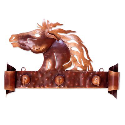 Iron coat rack, 'Horse of Gold' - Steel Horse Coat and Key Holder