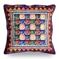 Cotton cushion cover, 'Elephants in Dusk' (16 inch) - Cotton Cushion Cover from Zimbabwe (16 Inch)