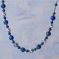 Azure-malachite beaded necklace, 'Andean Planet' - Andes Handcrafted Azure-Malachite Long Necklace