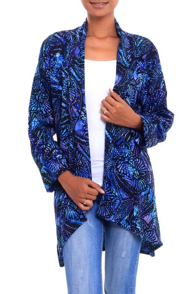 Black and Royal Blue Floral Batik Long Sleeve Jacket