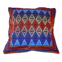 Cotton cushion cover, 'Geometric Design in Rainbow' (16 inch) - Cotton Cushion Cover with Multicolored Design (16 inch)