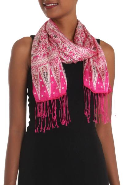 Batik silk scarf, 'Truntum World in Fuchsia' - Batik Silk Scarf with Truntum Motifs in Fuchsia from Bali