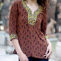 Silk blouse, 'Born in Summer' - Floral Silk Embroidered Tunic Top