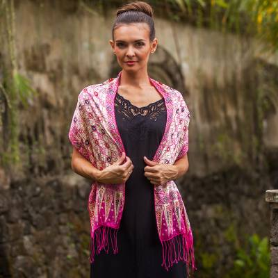 Batik silk scarf, 'Azalea Truntum' - Batik Silk Scarf with Truntum Motifs in Azalea from Bali