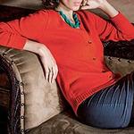 Alpaca Blend Cardigan Sweater, 'Timeless Orange'