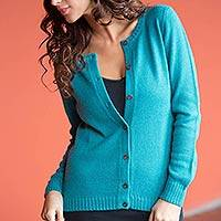 Alpaca blend cardigan, 'Timeless Teal' - Unique Alpaca Wool Cardigan Sweater