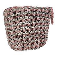Soda pop-top coin purse, 'Pink Style' - Soda pop-top coin purse