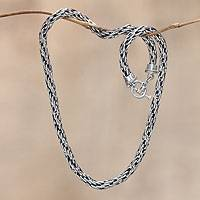 Men's sterling silver necklace, 'Courage'