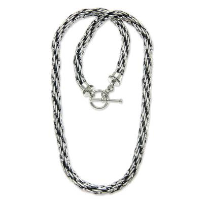 Men's sterling silver necklace, 'Courage' - Men's Sterling Silver Chain Necklace from Indonesia