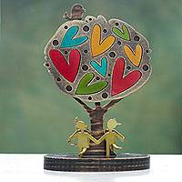 Wood and aluminum sculpture, 'Tree of Joy' - Colorful Peruvian Tree Sculpture with Hearts and Bird