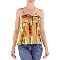 Cotton camisole top, 'Mixco Sunshine' - Handwoven Maya Cotton Top with Drawstring Straps