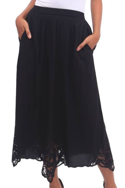 Hand-Embroidered Rayon Midi Skirt in Onyx from Bali