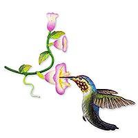 Steel wall art, 'Hummingbird and Hollyhocks' - Handcrafted Bird Metal Art for the Wall