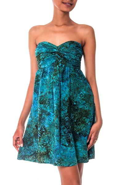 Batik dress, 'Java Emerald' - Unique Batik Patterned Strapless Dress