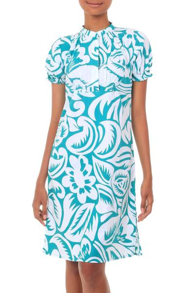 Silk Screened Floral Print Feminine Cotton Dress