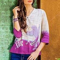 Cotton batik tunic, 'Purple Songbird'
