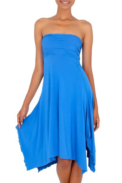 Jersey knit dress, 'Java in Blue Chic' - Strapless Knit Tube Dress