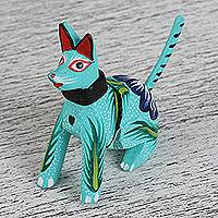 Wood alebrije flash drive, 'Barking Puppy' - Hand-Painted Wood Dog Alebrije USB Drive from Mexico