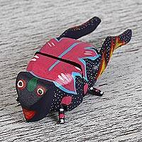 Wood alebrije flash drive, 'Cricket Song' - Hand-Painted Wood Cricket Alebrije USB Drive from Mexico