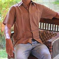 Men's cotton shirt, 'Lombok Cinnamon' - Men's Brown Cotton Short Sleeve Shirt