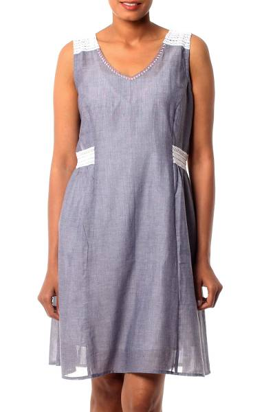 Cotton dress, 'A Touch of Lace' - Lace Trim Blue 100% Cotton Chambray Dress from India