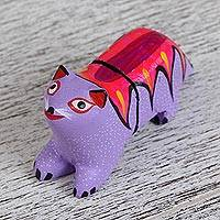 Wood alebrije flash drive, 'Baby Bear' - Hand Carved Wood Bear Alebrije 8GB Flash Drive