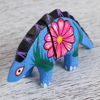 Wood alebrije flash drive, 'Baby Dinosaur' - Hand-Painted Alebrije Dinosaur USB Drive from Mexico