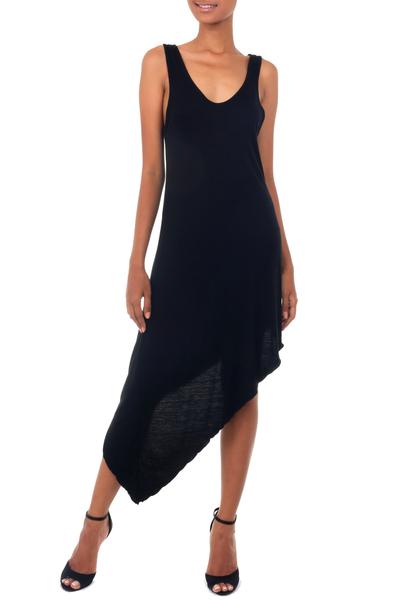 Jersey dress, 'Bold Black' - Jersey Knit Asymmetrical Dress