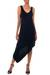 Jersey dress, 'Bold Black' - Jersey Knit Asymmetrical Dress (image 2a) thumbail