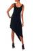 Jersey dress, 'Bold Black' - Jersey Knit Asymmetrical Dress (image 2b) thumbail